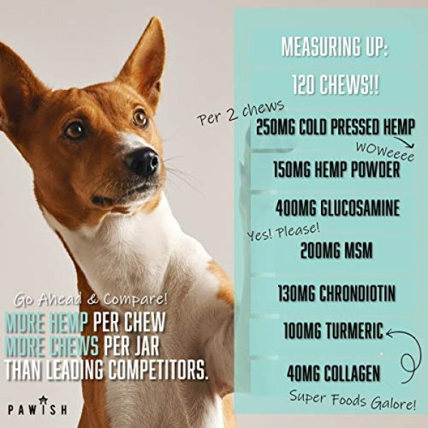 Hemp Hip & Joint Supplement for Dogs with Organic Hemp Oil, Gluco...