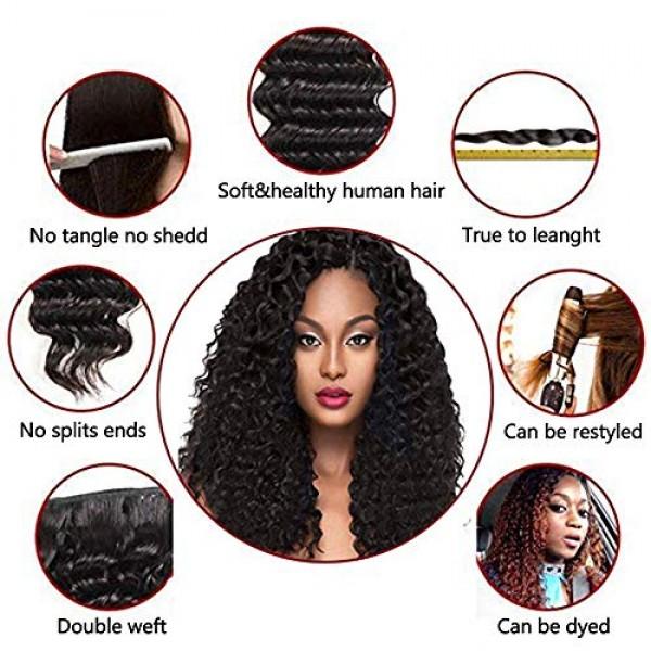 Brazilian Virgin Hair Deep Wave 3 Bundles With Closure Wet and Wa...