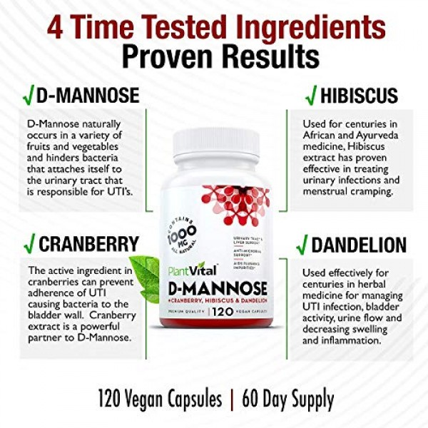 D-Mannose 1000mg w Cranberry [HIGH Potency] Urinary Tract Tr...