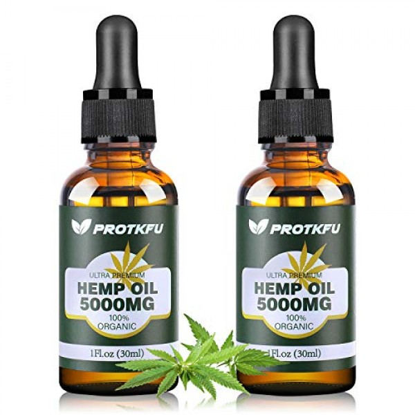 2 Pack 5000MG Hemp Oil for Pain, Anxiety & Stress Relief - 100%...