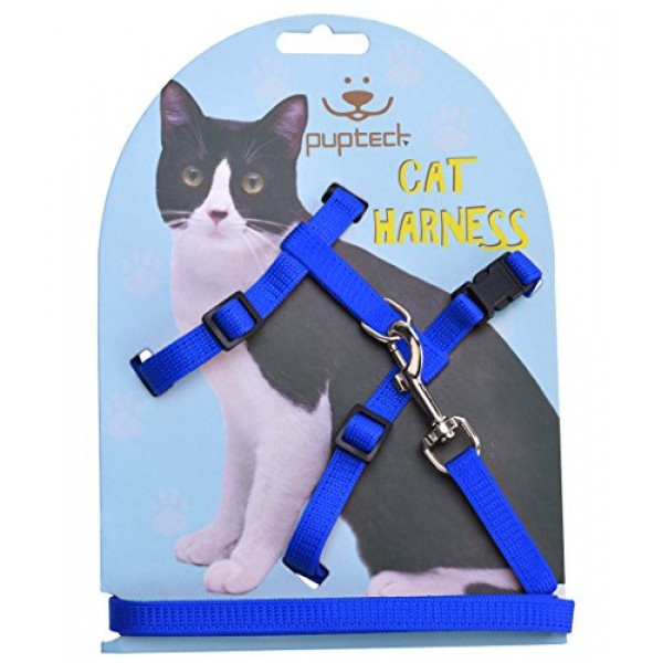 Adjustable Cat Harness Nylon Strap Collar with Leash Blue PUPTECK