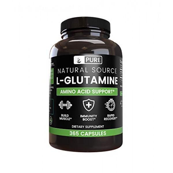 100% Pure L-Glutamine, 365 Capsules, 6-Month Supply, No Magnesium...