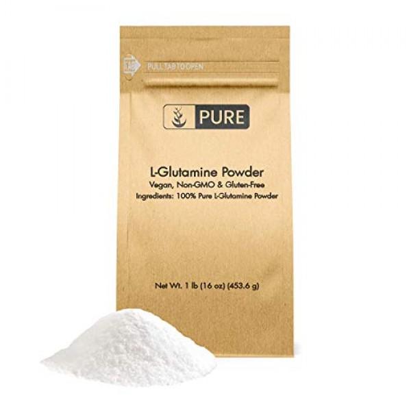 100% Pure L-Glutamine Powder, 1 lb, Gluten-Free, Non-GMO, Immunit...
