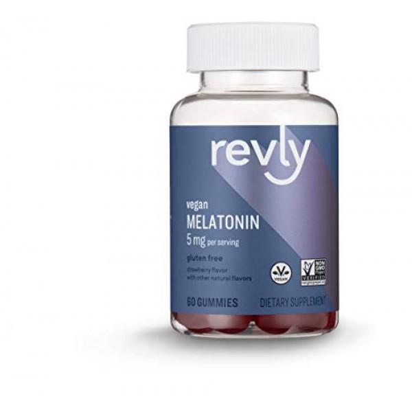 Amazon Brand - Revly Melatonin 5 mg, Strawberry Flavor, Helps wit...