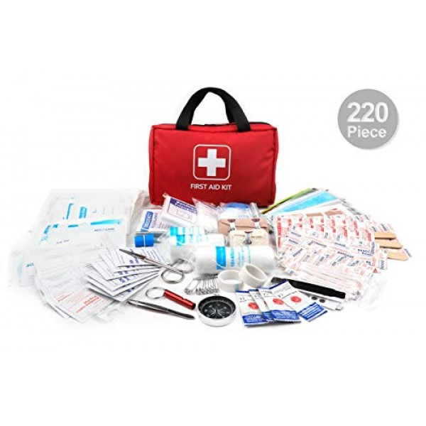 220 Piece First Aid Kit with Hospital Grade Medical Supplies, Gre...