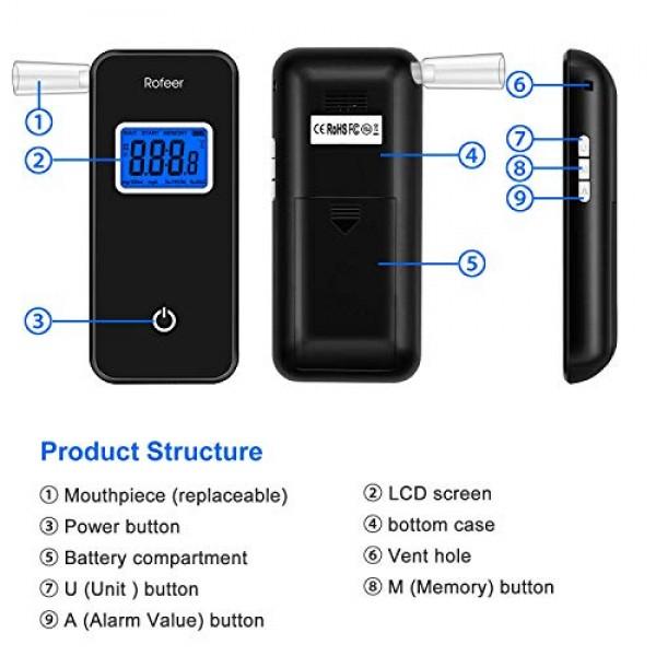 Breathalyzer, Rofeer Digital Blue LED Screen Portable Breath Alco...