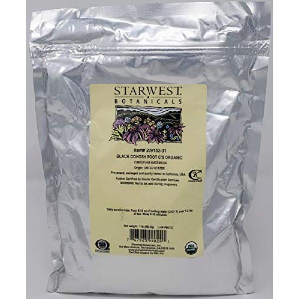 Black Cohosh Root Organic Cut & Sifted - Cimicifuga racemosa, 1 lb,