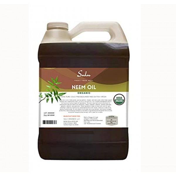 100% Pure Unrefined Virgin Cold Pressed Neem Oil 1 Gallon 128 FL...