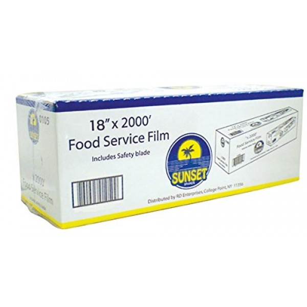 Food Service Film 18 Inch x 2000 Feet With Safety Blade to Cut Pl...
