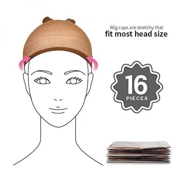 16 Pack Nylon Wig Caps, Teenitor 8 Pack Brown Skin Tone Stocking ...