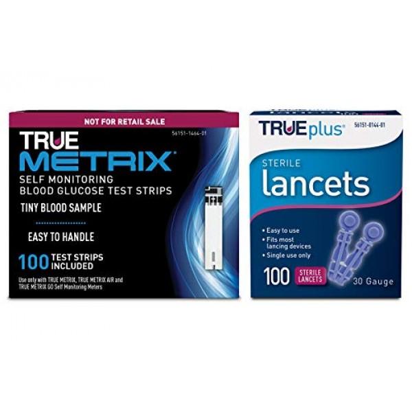 100ct TRUE METRIX NFRS Test Strips + 100ct TRUEplus 30g Lancets