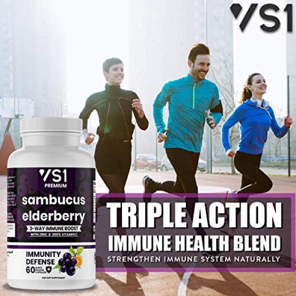 2-Pack Sambucus Elderberry Capsules with Zinc & Vitamin C - Imm...