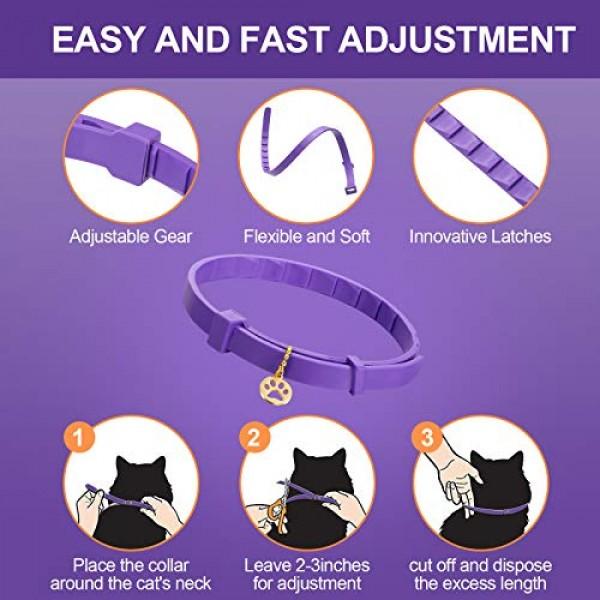 2 Pieces Calming Cat Collar Lavender Scent Relaxing Cat Collar Ad...