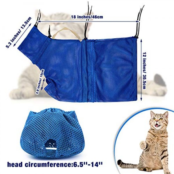 2 Pieces Cat Grooming Washer Mesh Bag Cat Muzzles Breathable Mesh...