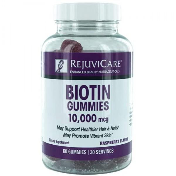 Rejuvicare Biotin Gummies 10,000mcg for Beautiful Hair, Skin and ...